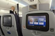 On United's new Boeing 787 Dreamliner, every seat has a personal entertainment system.