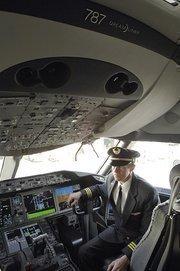 Pilot Michael McCann in United's new Boeing 787 Dreamliner.