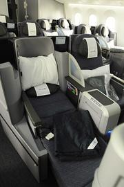 United's new Boeing 787 Dreamliner has 36 Business First 180-degree seats that extend fully flat.