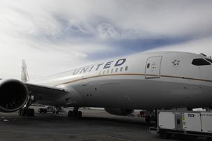 A United 787 Dreamliner parked at Denver International Airport in a November 2012 photo.