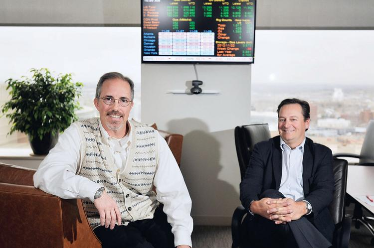 Encana Oil & Gas (USA) Inc. executives Darrin Henke (left) and Jeff Wojahn. Encana will benefit from an alliance with Nucor Energy Holdings Inc.
