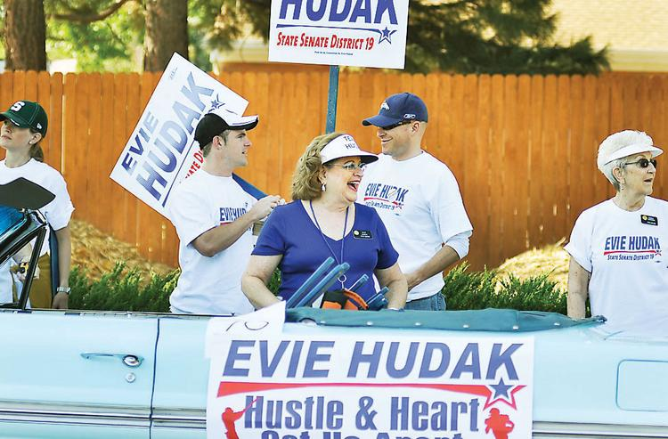 Evie Hudak gets ready to walk in the Harvest Festival parade in Arvada Sept. 9.
