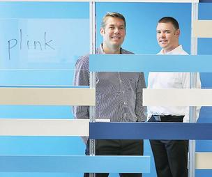 Peter Vogel, co-founder and vice president of business development, and Bryan Tyler, vice president of technology, at Plink, in an April 2012 photo.
