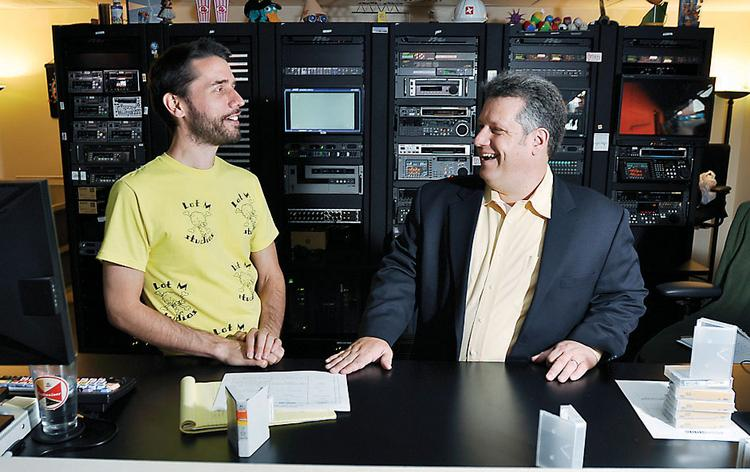 John Hardy (left) and Rusty Corbit of High Noon Entertainment, which is filming a reality program for The Weather Channel.