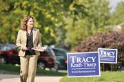 Tracy Kraft-Tharp, House District 29 candidate, canvasses her Arvada neighborhood.