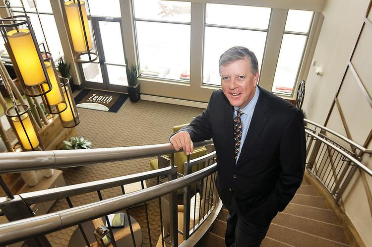 Peter Culshaw, executive vice president at Shea Properties, in the lobby of Zenith Meridian Apartments at 9850 Zenith Meridian Drive in Douglas County.