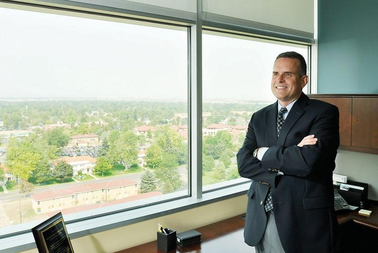 Rulon Stacey, president of University of Colorado Health, in his office on the Anschutz campus in Aurora.
