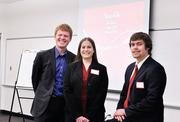 CSU students Brandon Tejera, Erin Richards and Austin Leffel get ready to make a presentation to Coca-Cola officals.
