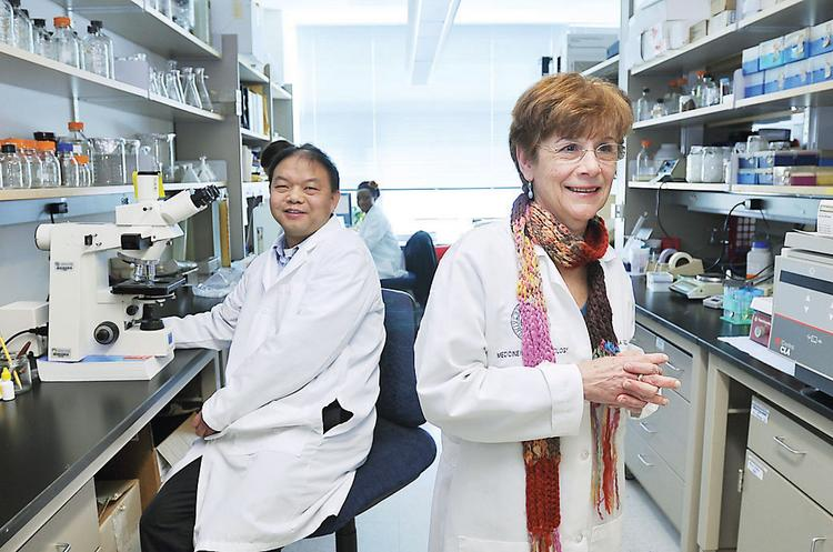 Marileila Varella-Garcia, a professor at the University of Colorado Denver, works in her lab with Liang Guo Xu, a professional research assistant.