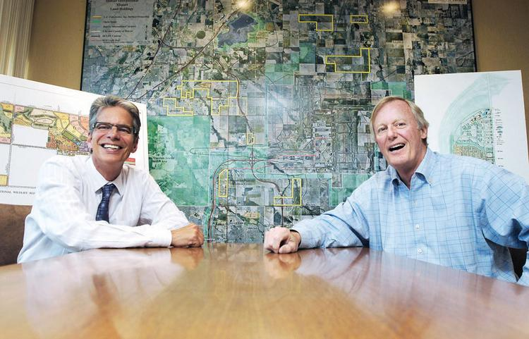 Ferd Belz, senior vice president of development, and Cal Fulenwider, president, at L.C. Fulenwider Inc., are part of the team working on developments at Denver International Airport.