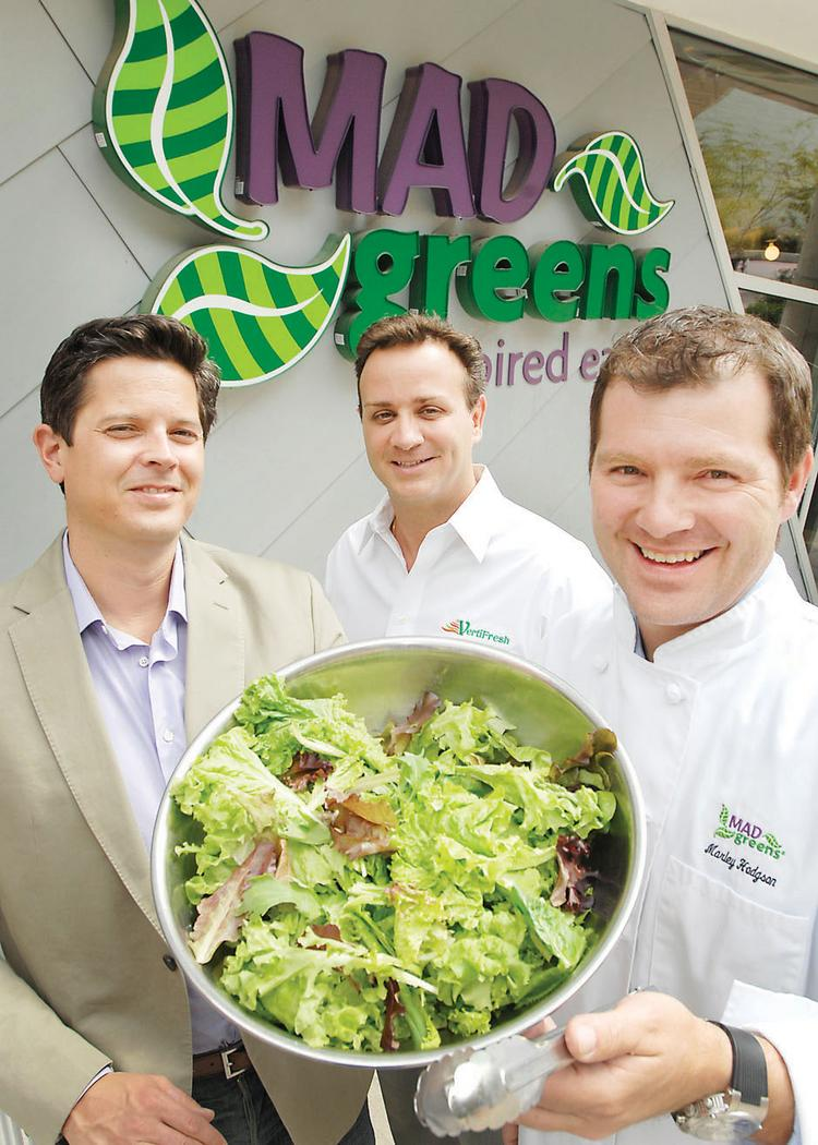 Mad Greens buys its greens from Denver-based VertiFresh. Left to right are Dan Long, president and co-founder of Mad Greens; Bill Sears, president of VertiFresh; and Marley Hodgson, CEO and co-founder of Mad Greens. VertiFresh has dedicated its full capacity to growing lettuce for Mad Greens.