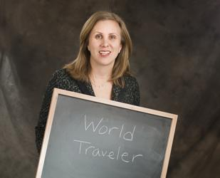 The Denver Business Journal's Forty under 40 winners were asked when they were in kindergarten, what did they want to be when they grew up? At the photo shoot they wrote their answer on the blackboard.  Diana Mead wanted to be a world traveler.