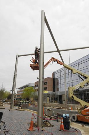Construction continues on the centerpiece of Fillmore Plaza, a 400-foot-long triangular canopy that could cover a band or event stage. It can be illuminated at night.