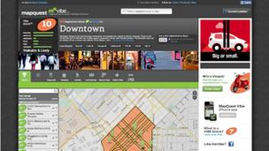 This screen shot of MapQuest's new MQ Vibe website shows a display for downtown Denver.
