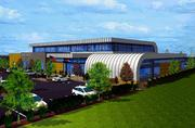 A rendering shows the planned design for a proposed curling center near Sixth Avenue and Indiana Street in Lakewood.