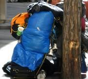 Campers pile their belongings down the middle of the 16th Street Mall during the day, which can cause problems for pedestrians.