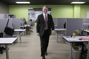 ClickBank CEO Brad Wiskirchen walks through the company's new offices in Broomfield.