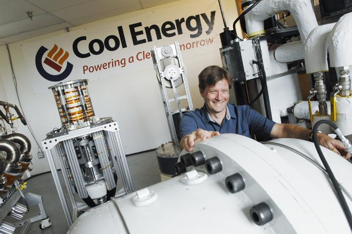 Sam Weaver, president and CEO of Cool Energy, with the new SolarHeart Engine. Cool Energy developed the engine to convert heat into electricity. The Boulder company's first target markets are India and Africa.