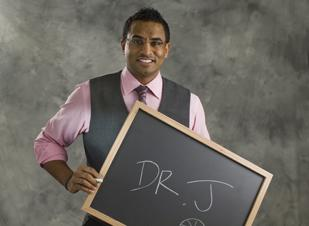 The Denver Business Journal's Forty under 40 winners were asked when they were in kindergarten, what did they want to be when they grew up? At the photo shoot they wrote their answer on the blackboard.  Anil Idiculla wanted to be Dr. J.