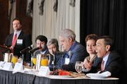 The panelists answer questions at the Health Care Reform Forum.
