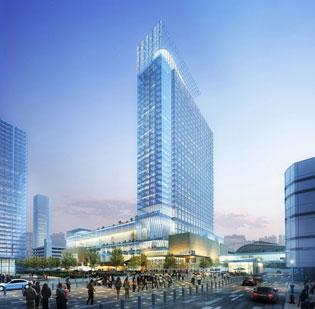 Click through the slideshow to see more renderings of the convention center Marriott Marquis' design features.