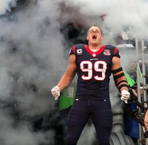 J.J. Watt of the Houston Texans is pumped up just thinking about getting his first sack of Patriots' QB Tom Brady in the big playoff game this weekend.