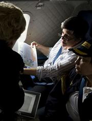 Department of Homeland Security Secretary Janet Napolitano, Department of the Interior and Environmental Protection Agency Administrator Lisa Jackson and Rear Adm. Mary Landry, conduct an aerial survey of the Gulf Coast.