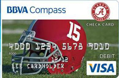 BBVA Compass has unveiled a University of Alabama football team bank card.
