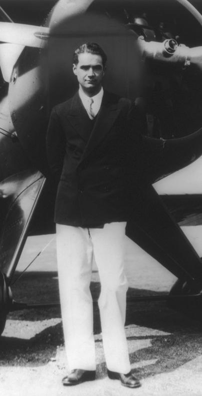 Howard Hughes, pictured in front of his new Boeing Army Pursuit Plane in the 1940s.