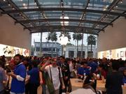 The crowd inside the new Highland Village Apple Store.