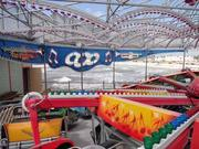 This shot was taken while standing inside the Rock & Roll ride, one of several attractions that Pleasure Pier officials hope will stir up nostalgic memories for older riders. Other old-school rides include a carousel and bumper cars.