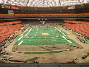 A view of the deteriorated field of the stadium from the balcony seats.
