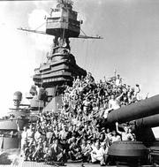Crew of Battleship Texas celebrating their homecoming in 1945.