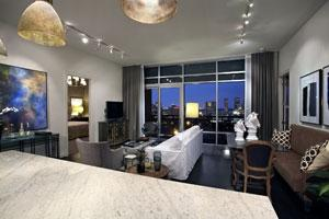 Unit 1402 in Highland Tower is called Sophisticated Chic. The 1,614 square-foot condo sells for $734,000 unfurnished or $806,600 furnished.