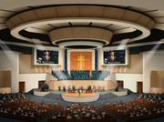 Rendering of First Baptist Church Pasadena, a 115,000-square-foot, 2,500-seat sanctuary designed by Ziegler Cooper that is under construction.