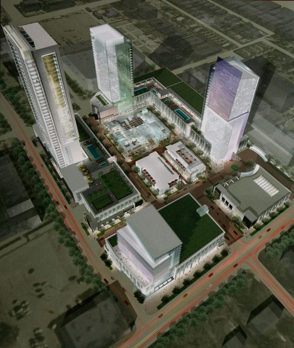 Rendering of the River Oaks District complex from when it was first announced in 2007.