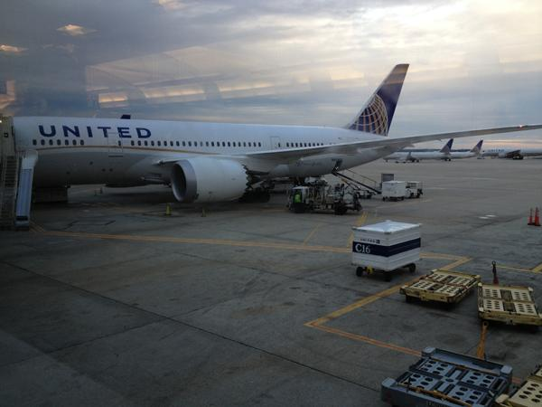 A United Airlines 787 in Houston.