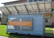 Developed by a team at the University of Houston School of Architecture, the Solar Powered Adaptive Container for Everyone is a portable building made of recycled cube, 20-inch shipping containers. Its hinged racking system can hold 20 photovoltaic panels.