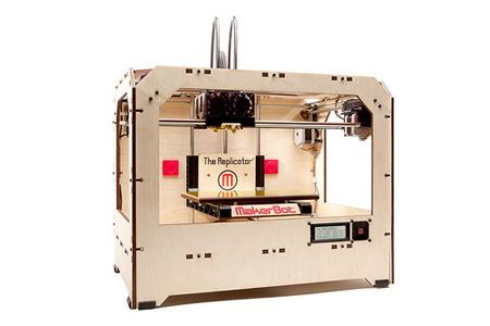 MakerBot Industries' 3D printer, The Replicator, is a relatively affordable 3D printer (listed as $1,750) that prints plastic products designed on a computer.