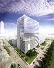 A rendering of the BBVA Compass tower, which is expected to be completed in April 2013.