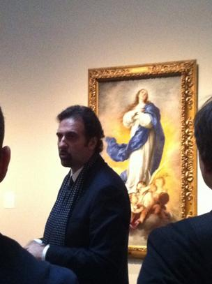 """Religious painting formed part of the identity of Spanish painting,"" said Gabriel Finaldi, deputy director of the Museum of Fine Arts Houston. In the background: The Immaculate Conception of Aranjuez, by Bartolome Estaban Murillo, circa 1675-1680. Oil on canvas. Click through the slideshow to see other paintings from Madrid's  Museo Nacional del Prado, currently at the Museum of Fine Arts Houston."