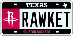 The new Houston Rockets license plate design unveiled by the Texas Department of Motor Vehicles.