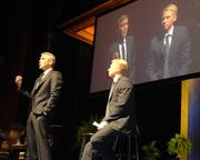 During his fireside chat at the Brown Theatre in the Wortham Center on May 3, actor George Clooney, left, spoke about his life on screen and as an advocate for resolving the ongoing conflict in Sudan. In 2007, Clooney and fellow actor Don Cheadle were awarded the Summit Peace Award from the Nobel Peace Prize Laureates for their efforts to draw attention to the situation in the Darfur region of that African country.