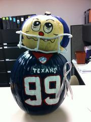 Tommie Garcia, human resources manager for DXP Enterprises, decorated this pumpkin for the company's contest.