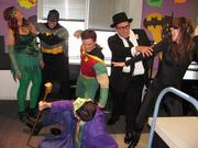 Entrust Energy in Houston had a duos- and groups-themed Halloween party. The Batman and Friends group, from left, included Karen Jones (Poison Ivy), Jeremy Pawlak (Batman), Rob Ainbinder (Joker), Rich Whittington (Robin), Kevin West (Commissioner Gordon) and Nicole Bourget (Cat Woman).