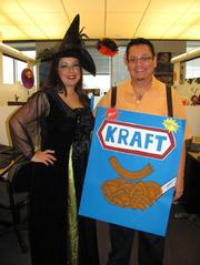 """Entrust Energy in Houston had a duos- and groups-themed Halloween party. Alma Sedano (Witch) and Oscar Caballero (Kraft) went as """"WitchKraft."""""""