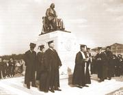 "In June 1930, dignitaries dedicate a statue of William Marsh Rice. The sculpture, dubbed ""Willy's Statue"" by students, was the subject of a 1988 prank when students lifted and rotated the one-ton monument 180 degrees in the middle of the night."