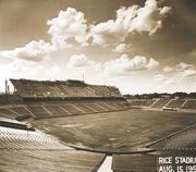 In February 1950, ground is broken on Rice Stadium. The 70,000-seat structure was completed in time for a September home-opener game.