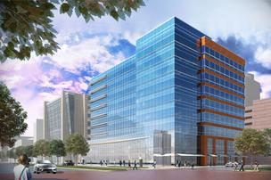 Rendering of 3 Waterway Square Place — a 192,000-square-foot office building that will soon be under construction in The Woodlands.