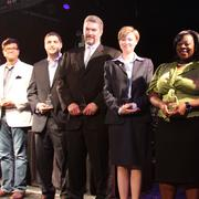 From left: Tushar Gupta, Scott Frankel, Ted Dimitry, Sarah Davis and Tiffany Curry accept their 40 Under 40 awards on stage
